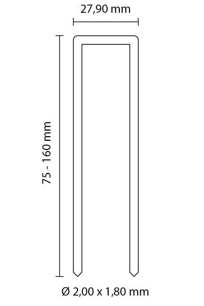 SENCO HEFTKLAMMERN TYP SP | ROSTFREIER STAHL 1.4301 | 160 MM LÄNGE
