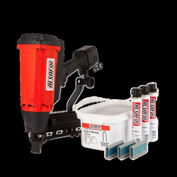 Alsafix Zaunklammergerät GAS G2 mit 3.000 Zaunklammern. Perfekt für Forst- und Landwirtschaft.